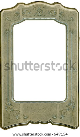 Unique antique floral and scroll frame with work path. Just drop in your image. Some grunge and wear intact.