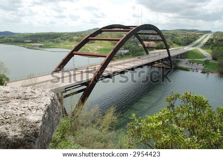 "Unique ""Austin's 360 Bridge"" also known as the ""Austin Pennybacker Bridge"" overlooking townlake along the Colorado River - stock photo"