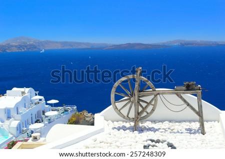 Unique beauty of Santorini volcanic caldera and cycladic architecture, Oia, Greece - stock photo