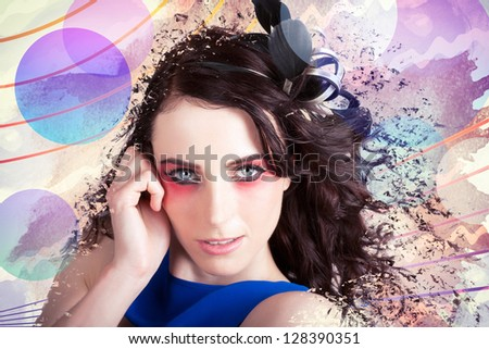 Unique Beauty Portrait On The Fresh Face Of A Woman Fragmenting Into Abstract Blots Of Color In A Depiction Of The Colours Of Make-up - stock photo