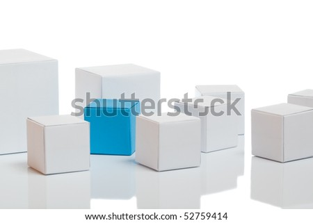 Unique blue box with white boxes on background - stock photo
