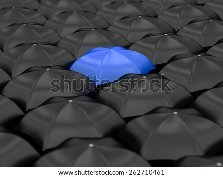unique blue umbrella with many black umbrellas - stock photo
