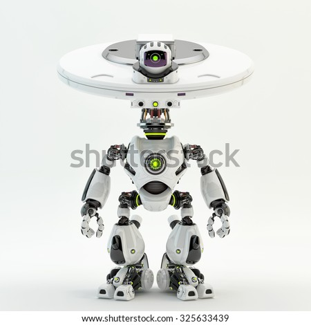 "Unique bot - robotic creature with plate ""dish"" head and camera. It may serve as surveillance guard, video monitoring / Plate bot - stock photo"
