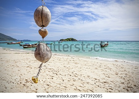 Unique coconut decoration on tropical beach, nature background. - stock photo