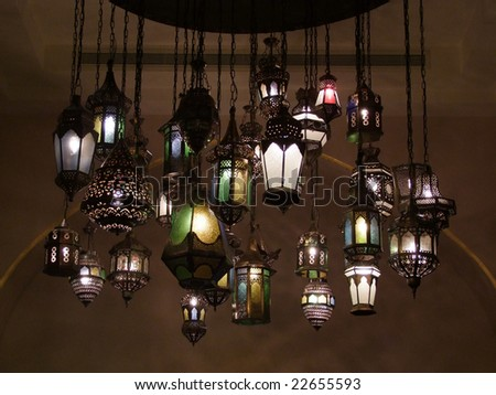 Unique collection of arabic old lighting lamps - stock photo