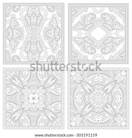 unique coloring book square page set for adults - floral authentic carpet design, joy to older children and adult colorists, who like line art and creation, raster version - stock photo