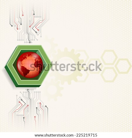 Unique concept for technology background; Earth framed by three dimensions hexagon. Abstract background for office and business, wallpaper, poster, template for designers. - stock photo