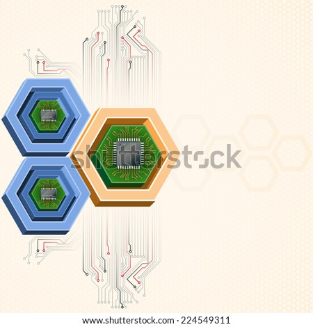 Unique concept for technology background; Mini electronic chips framed by three dimensions hexagons. Abstract background for office and business, wallpaper, poster, template for designers. - stock photo