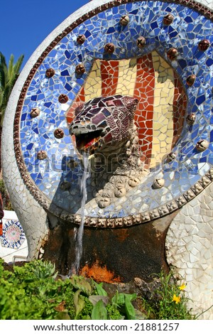 Unique Dragon fountain at Guell park, at Barcelona, Spain