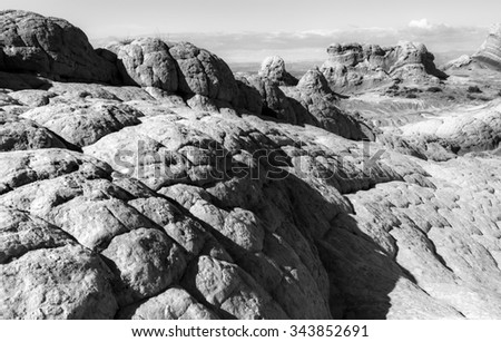 Unique formation of Stone, White Pocket Arizona, Black and White - stock photo