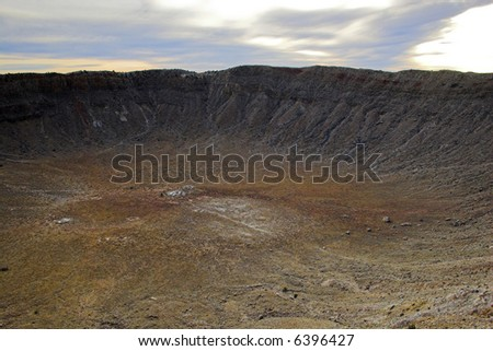 Unique geologic formation of explosion structure at the Meteor Crater - stock photo