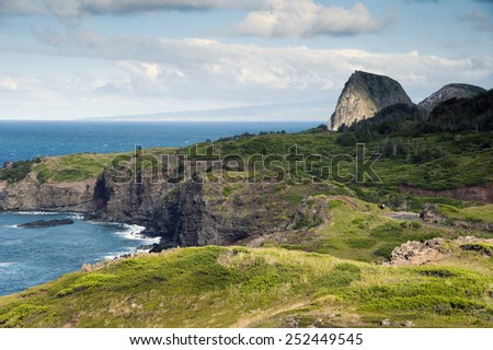 Unique geological rock formations along the coastal shores of Kahakula in Maui, Hawaii. - stock photo