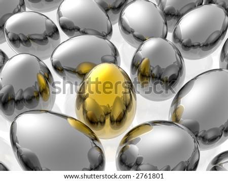Unique golden egg - stock photo