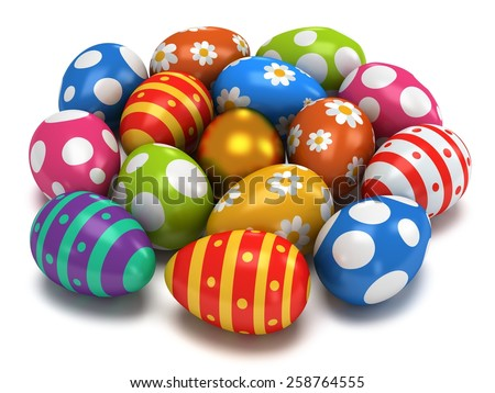 Unique golden egg among pale of Easter Eggs isolated on white background. 3D render - stock photo