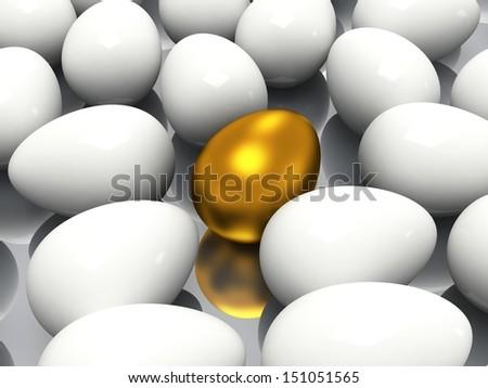 Unique golden egg among white eggs - stock photo