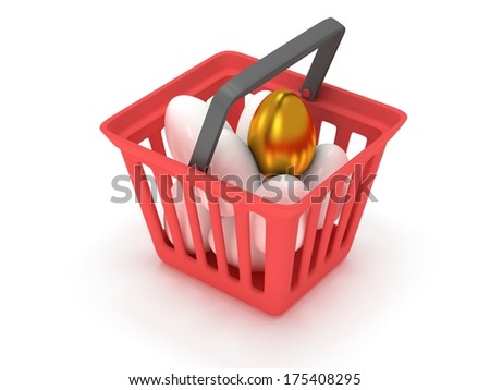 Unique golden egg among white eggs in red shopping basket isolated on white background - 3d render - stock photo