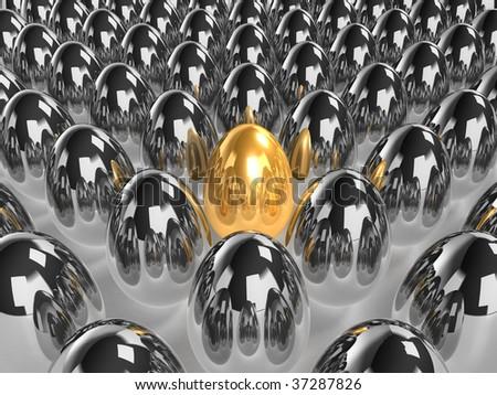 unique golden egg - 3d rendered - stock photo