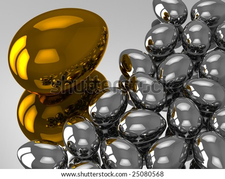 Unique golden egg with many silver eggs - stock photo