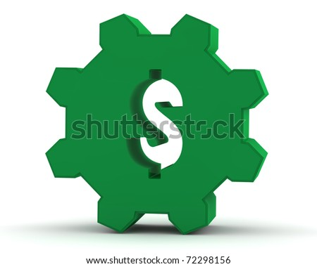Unique green gear with a dollar sign