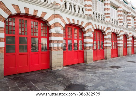 Unique historical firestation architecture built with bricks. - stock photo