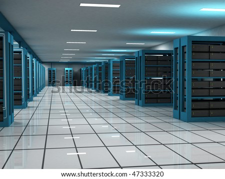 Unique hosting and server room - stock photo