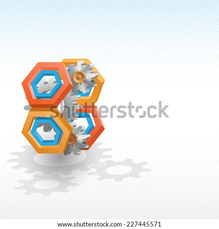 Unique idea for technology background; Cogwheels framed by three dimensions hexagon. Abstract background for office and business, wallpaper, poster, template for designers.  - stock photo