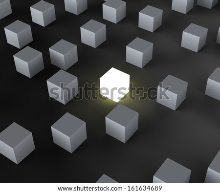 Unique Illuminated Block Showing Standing Out And Different - stock photo