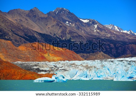 Unique lake Viedma in Argentine Patagonia. The lake is surrounded by mountains. Excursion by boat to the huge white-blue glacier - stock photo
