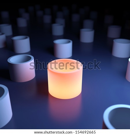 Unique luminous cylinder. 3d abstraction - stock photo