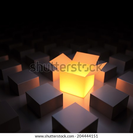 Unique luminous opened box. 3d render - stock photo