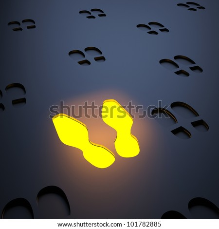 Unique luminous steps icon. 3d abstraction - stock photo