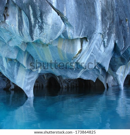 Unique marble caves. General Carrera lake. North of Patagonia. Chile.                            - stock photo