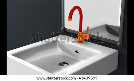 unique material concept faucet - stock photo