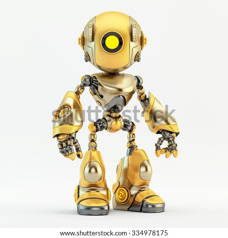 Unique matte and glossy gold robot - stock photo