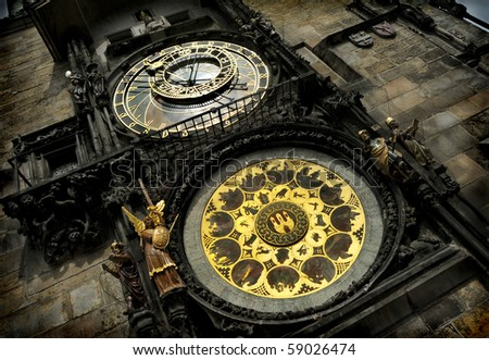Unique medieval astrological clock in Prague - stock photo