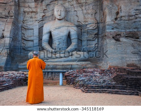 Unique monolith Buddha statue in Polonnaruwa temple - capital of Ceylon,UNESCO World Heritage Site