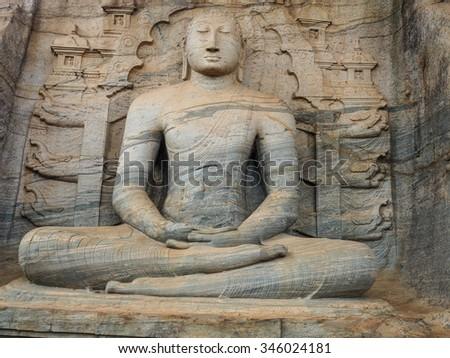 Unique monolith Buddha statue in Polonnaruwa temple - capital of Ceylon,UNESCO World Heritage Site - stock photo