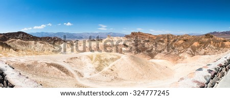 "Unique Mountains Formations of ""zabriskie point"" in Death Valley, panoramic"