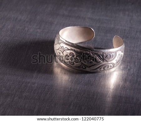 Unique old-fashoned silver ring - stock photo