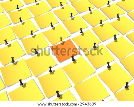 Unique paper pinned to a white background - stock photo