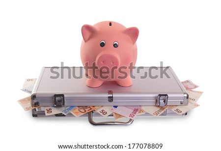 Unique pink ceramic piggy bank on top of metal case filled with money - stock photo