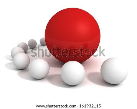 Unique red ball leader in crowd of white other spheres - stock photo
