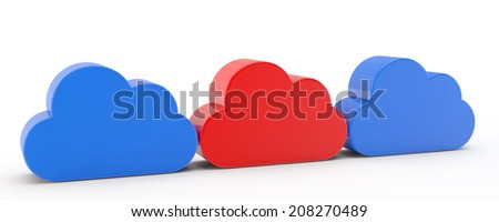 unique red cloud among blue clouds - stock photo