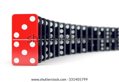 Unique red domino tile and many black dominoes. Leadership, individuality and difference concept. - stock photo