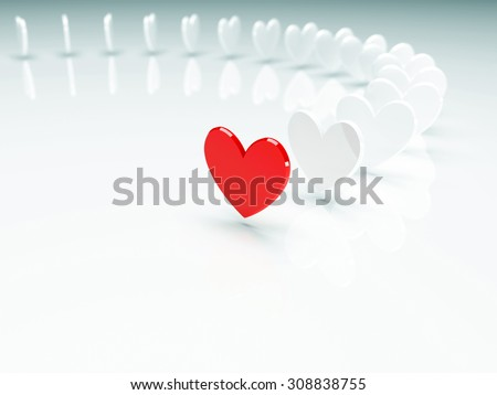 Unique red heart ahead of white hearts. 3d render illustration - stock photo