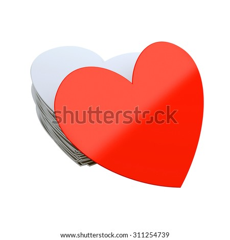 Unique red heart isolated at white background. 3d render illustration - stock photo