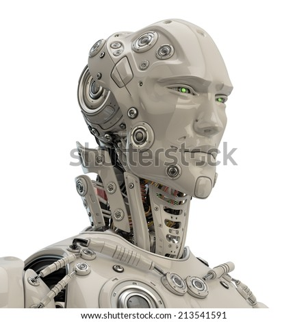 Unique robotic character / Stylish cyber man 3d render - stock photo
