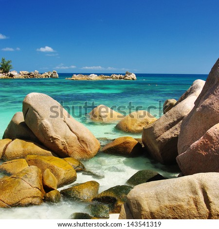unique rocky beaches of Seychelles - stock photo