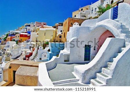 unique Santorini architecture. Greece - stock photo