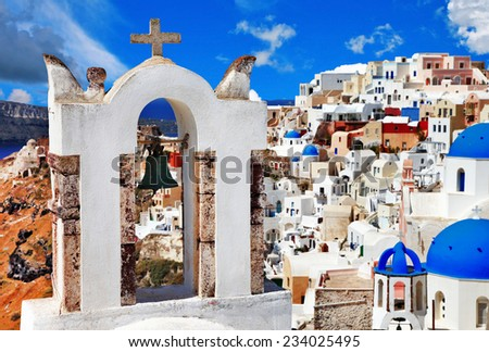 unique Santorini, view with church bell in Oia - stock photo